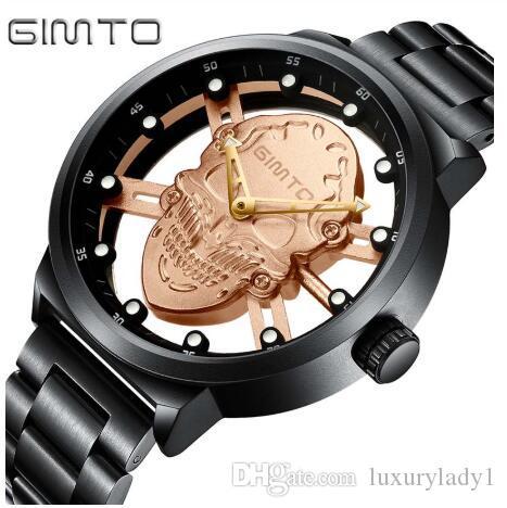 Crânio oco de luxo Men Watch Criativo esqueleto Ouro Quartz Relógio de pulso de aço Casual Masculino Relógio Relógio Masculino