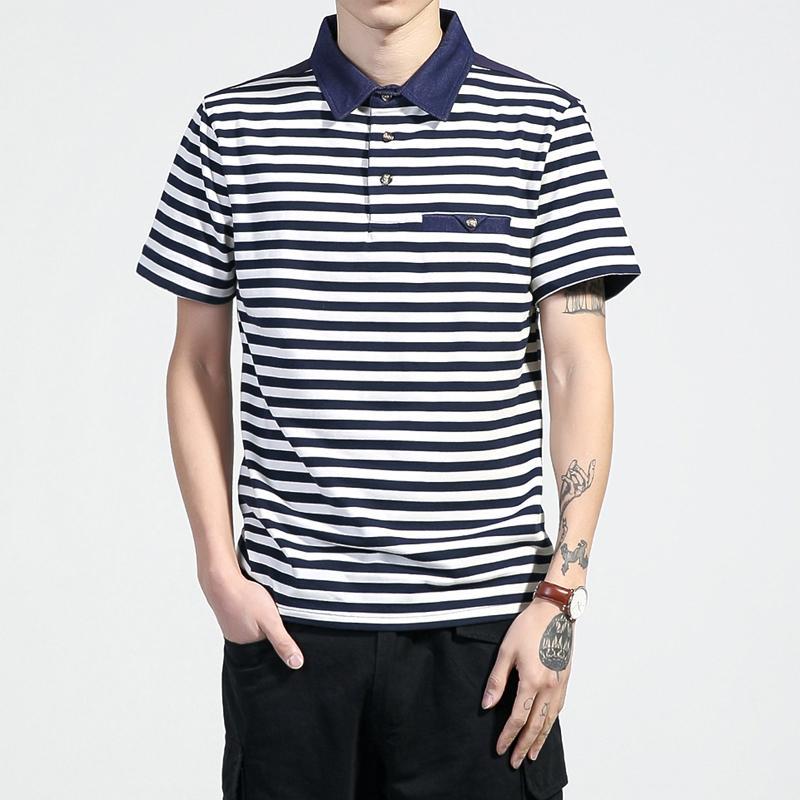 هوت قميص رجالي قوة بحرية اللون الأزرق مخطط 2020 قمصان قطن الصيف قصير الأكمام رجال كبير الحجم 5XL بولو شيرت جيرسي # 8807