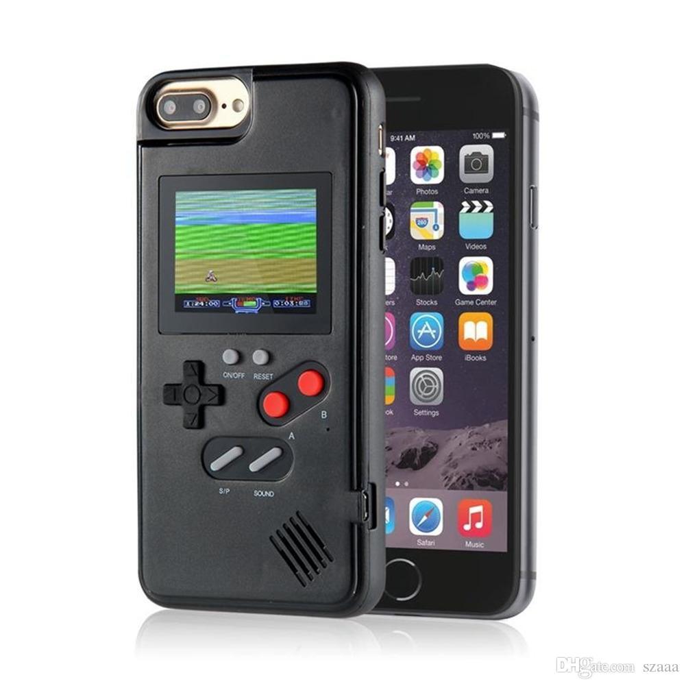 NewMini Handspielkonsolen Telefonkasten Silikagel-Schutzhülle Retro Game Maschine Player Farbe LCD für iphone6 7 8 8plus X XS Max XR