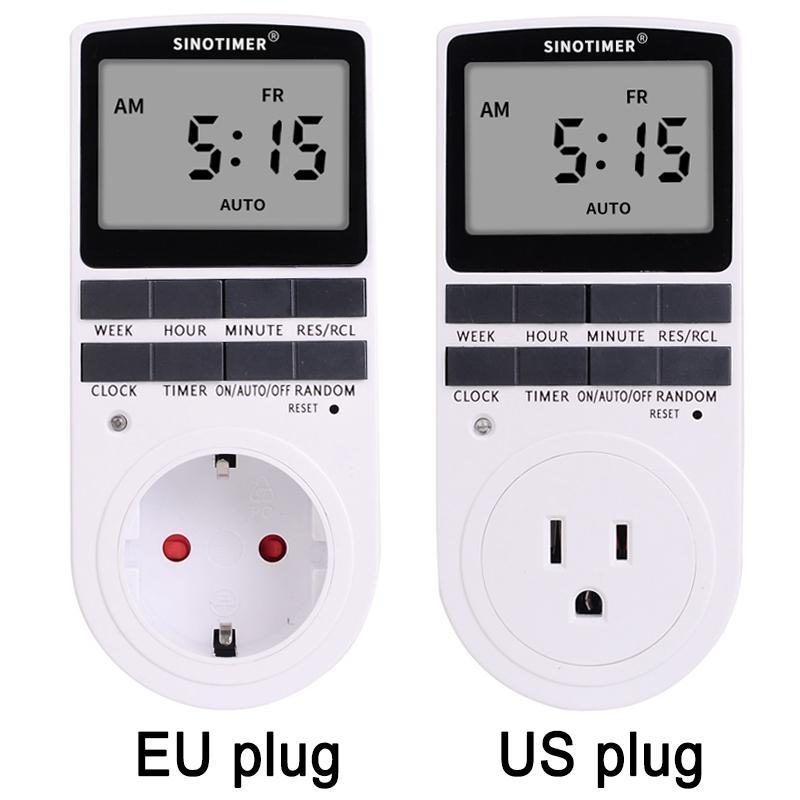Super LCD Display Numérique Hebdomadaire Mur Électrique Programmable Plug-in Prise de courant Minuterie Commutateur Sortie Horloge 220V 110V AC