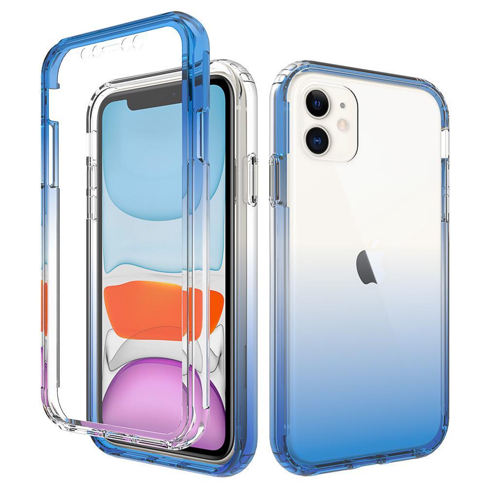 Градиентный цвет 2в1 Tpu чехол Чехол для Apple Iphone 11 Pro X XS XR MAX для Samsung Galaxy S20 Plus Ultra S10 Plus телефон прозрачные чехлы 500 шт.