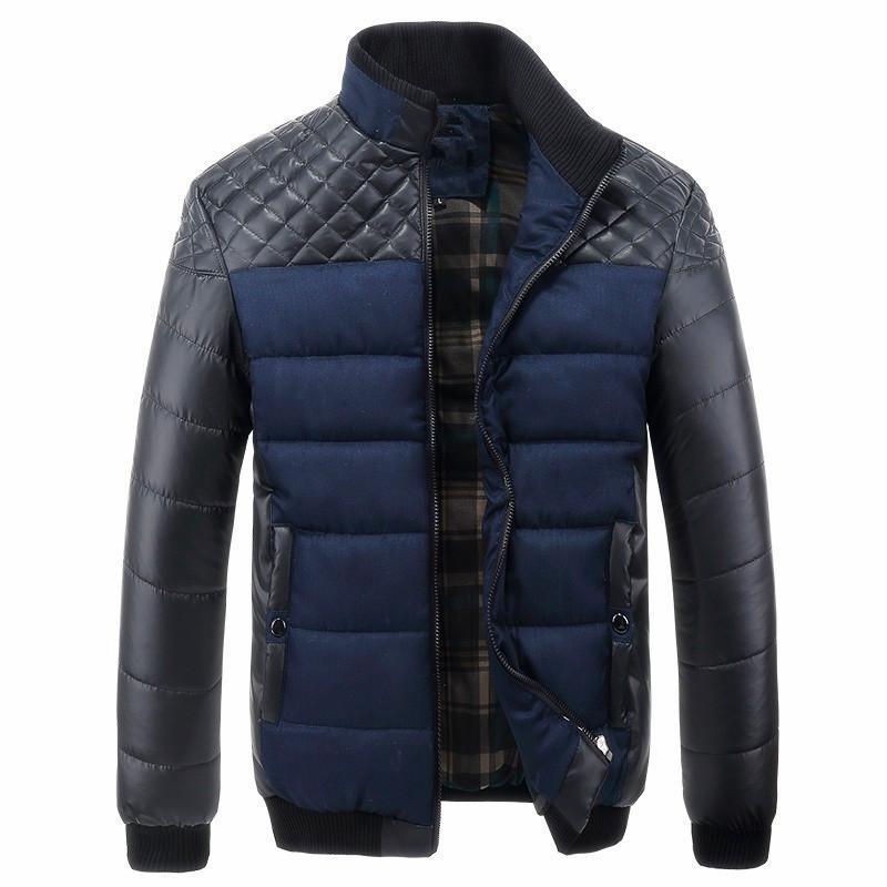 Stilista di moda giacche e cappotti Pu Patchwork Mens giacche di cotone Cappotti Inverno Primavera Thick Uomo