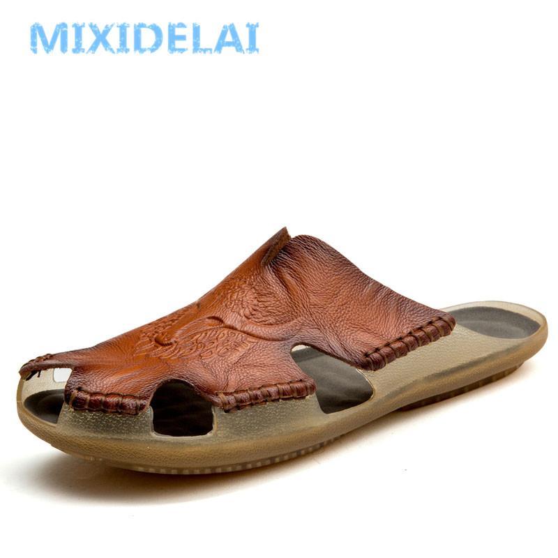 MIXIDELAI Yeni Kalite deri Kaymaz Terlik Erkekler Plaj Sandalet Rahat Yaz Ayakkabı Erkekler Terlik Classics Erkekler Terlikler