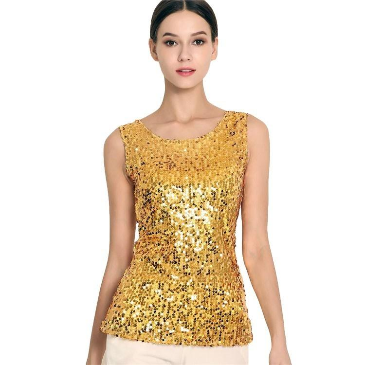 #1730 Gold/Silver/Black Summer Tops For Women Sexy Sequin Stretch Tank Tops Plus Size S-3XL Crop Femme Bling Streetwear