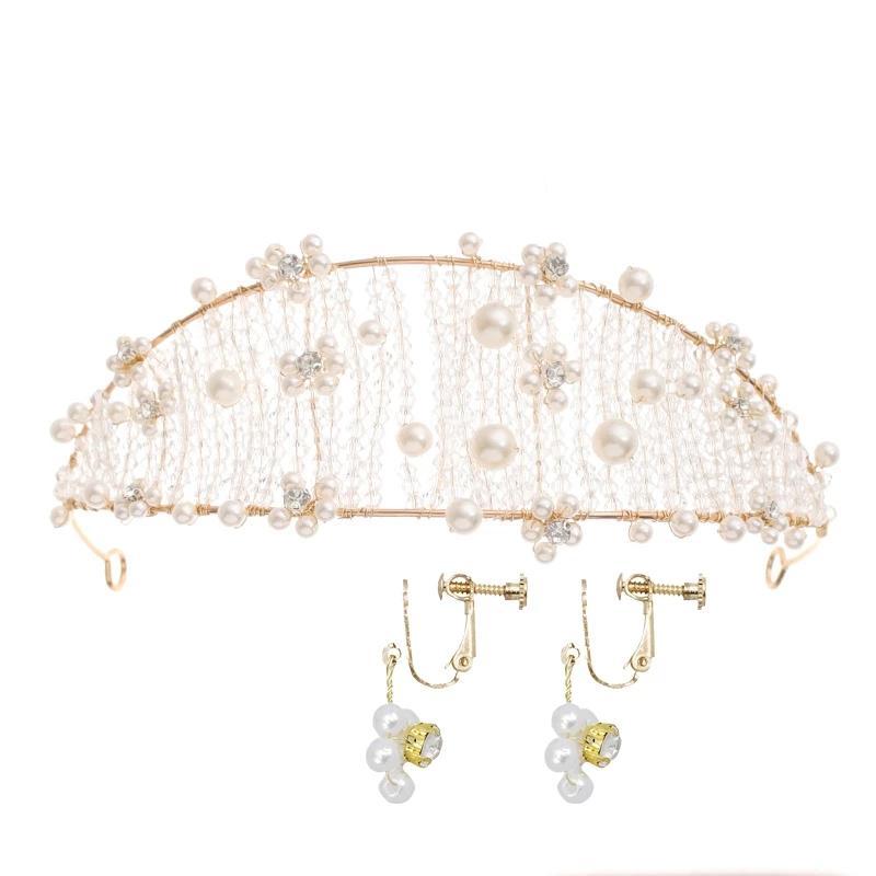 أنيقة تقليد بيرل زفاف ولي العهد مجموعة أقراط تيارا عن الزفاف مجوهرات الزفاف مجموعة مجوهرات غطاء الرأس للمرأة