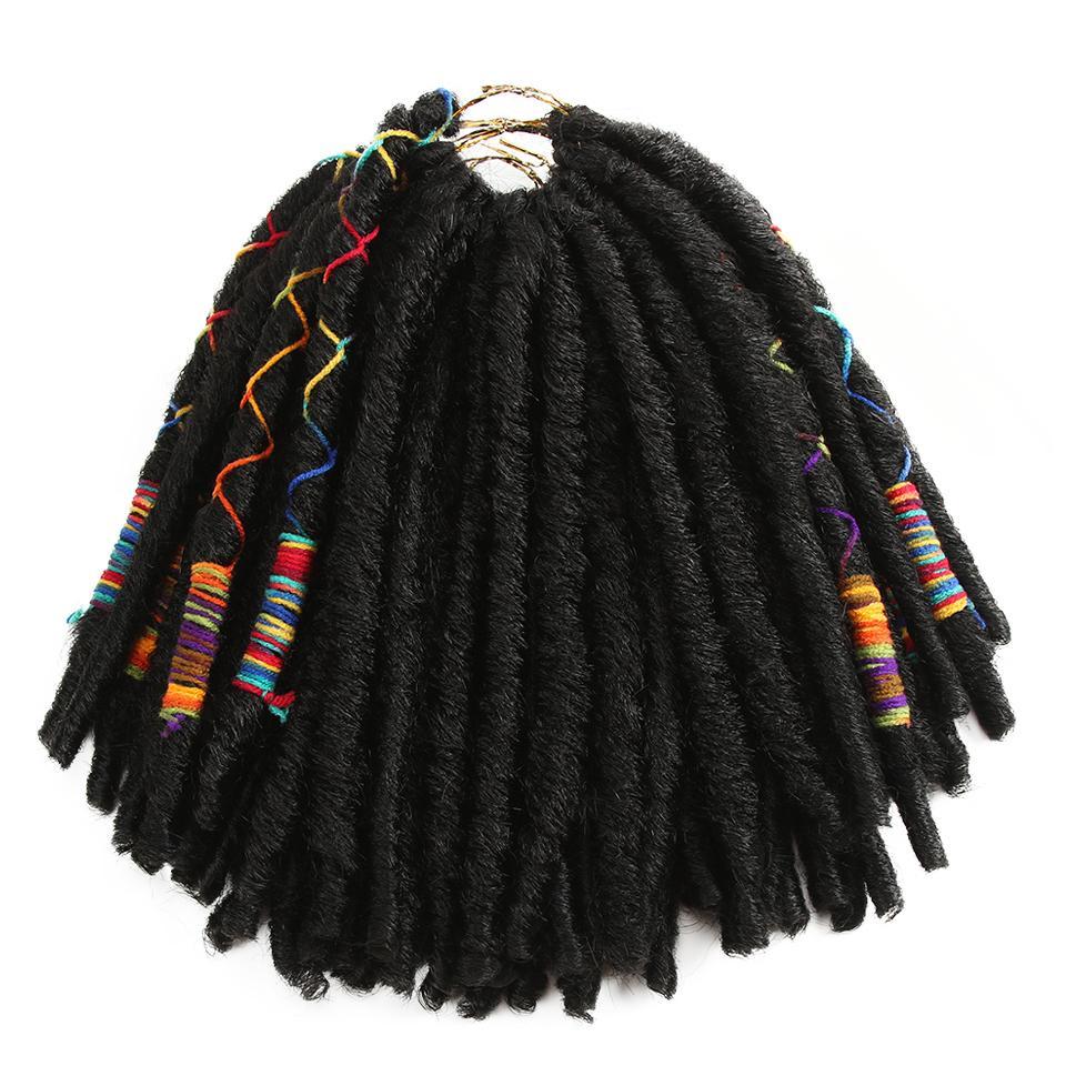 18Inch 10Strands/Pack Faux Locs Crochet Braids Hair Synthetic Braiding Soft Crochet Hair Extensions Burgundy Black Brown Blonde Fiber