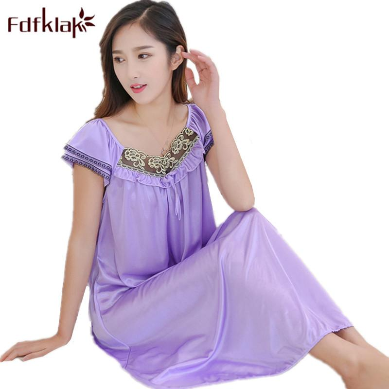 Fdfklak 2018 Summer New Women Sexy Nightgowns Plus Size Sleep Dress Nightwear Silk Ladies Long Section Home Dress L-XXL E0891