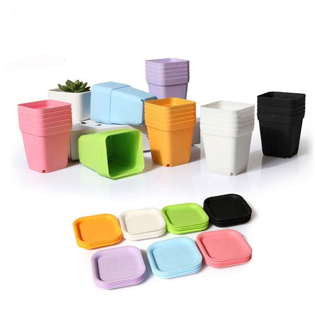 Mini Square Plastic Plant Flower Pot Home Office Planter Colorful With Pots Trays Green Plant Artificial