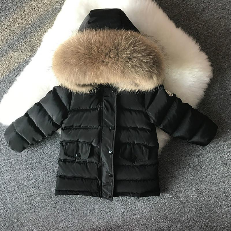 2017 겨울 키즈 짧은 디자인 짙은 흰색 오리 코트 아래로 아기 큰 가죽 모피 칼라 의류 유아 소년 따뜻한 자켓