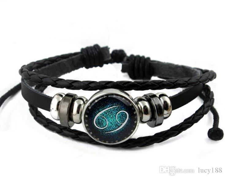 Fabricantes que vendem Europa pulseira retro frisada tecida à mão 12 constelação do zodíaco pulseira de corda de couro por atacado gota de compras
