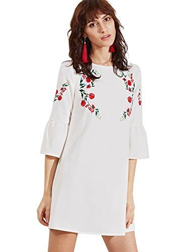 cdf0dc0fe4fc41 Floerns Women'S Bell Sleeve Embroidered Tunic Dress 4 Evening ...