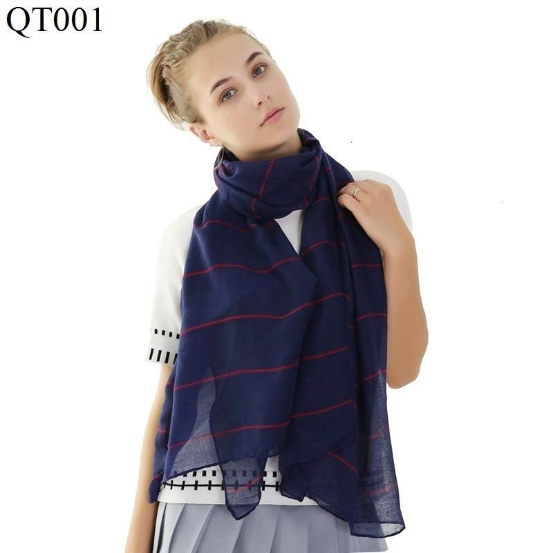 Cotton Scarf Transverse Stripe Tr algodão clássico Xaile alta qualidade Mulher Scarf