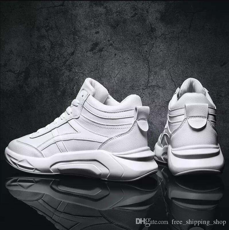 2019 homens casuais sapatos brancos preto Moda vermelho respirável alta corte sapatos de desporto ao ar livre sapatilhas Tamanho 36-43