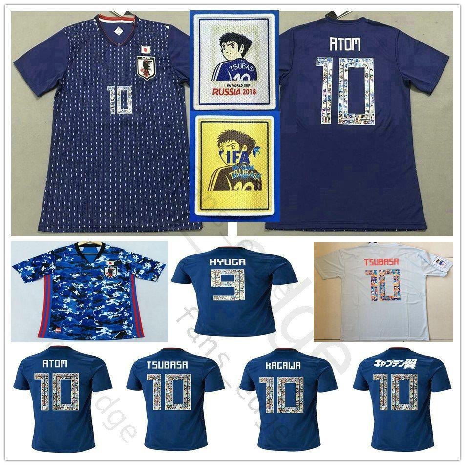 Cartoon Anzahl WM 2018 Japan-Fußball-Jersey Captain Tsubasa 10 OLIVER ATOM KAGAWA ENDO 9 HYUGA Gewohnheit 2019 2020 Blau-Fußball-Hemd