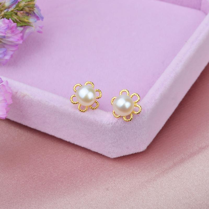 ASHIQI Genuine 925 Sterling Silver flower Stud Earrings 5-6mm Natural Freshwater pearl earring for Women & Girls gift