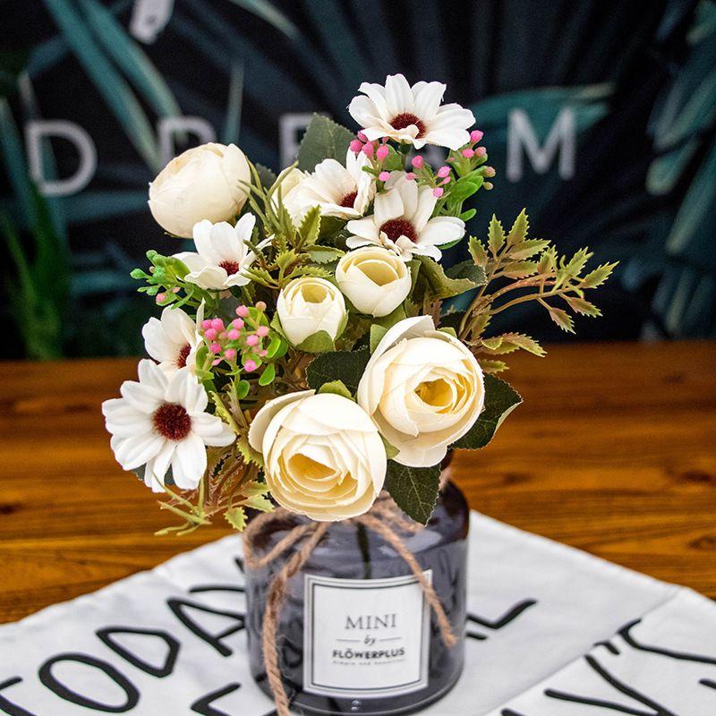 ارتفع 30CM الحرير الصناعي الشاي زهرة رئيس الديكورات المنزلية اكليلا من الزهور هدية محاكاة لؤلؤة عرض باقة فرع زهرة اصطناعية