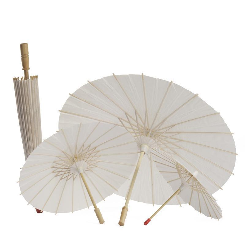 White Bamboo Paper Umbrella Parasol Dancing Wedding Bridal Party Decor Bridal Wedding Parasols White Paper Umbrellas CCA11846 100pcs