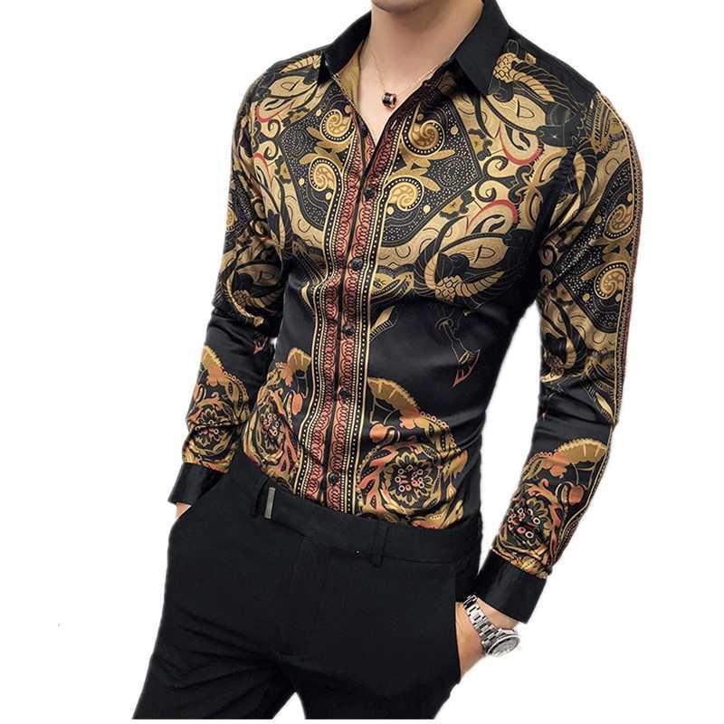 Camisas de vestido masculinas Luxo Black Gold Shirt Masculino 2021 Slim de mangas compridas Petticoat personalidade de moda impressão casual marca marca