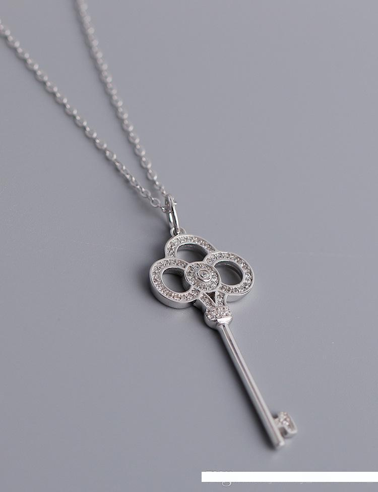 neuer Designer Schloss Halskette S925 Sterling Silber Schlüssel langkettiger 40-75 cm verstellbar für Frau Glück Geschenk Schmuck