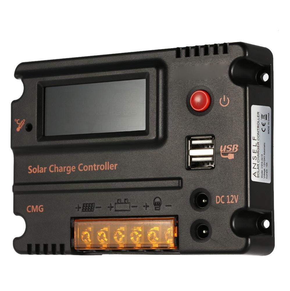 CMG12V24V20A controlador solar Comum negativo pólo LCD backlight display controlador de carregador solar duplo USB5V e DC12V