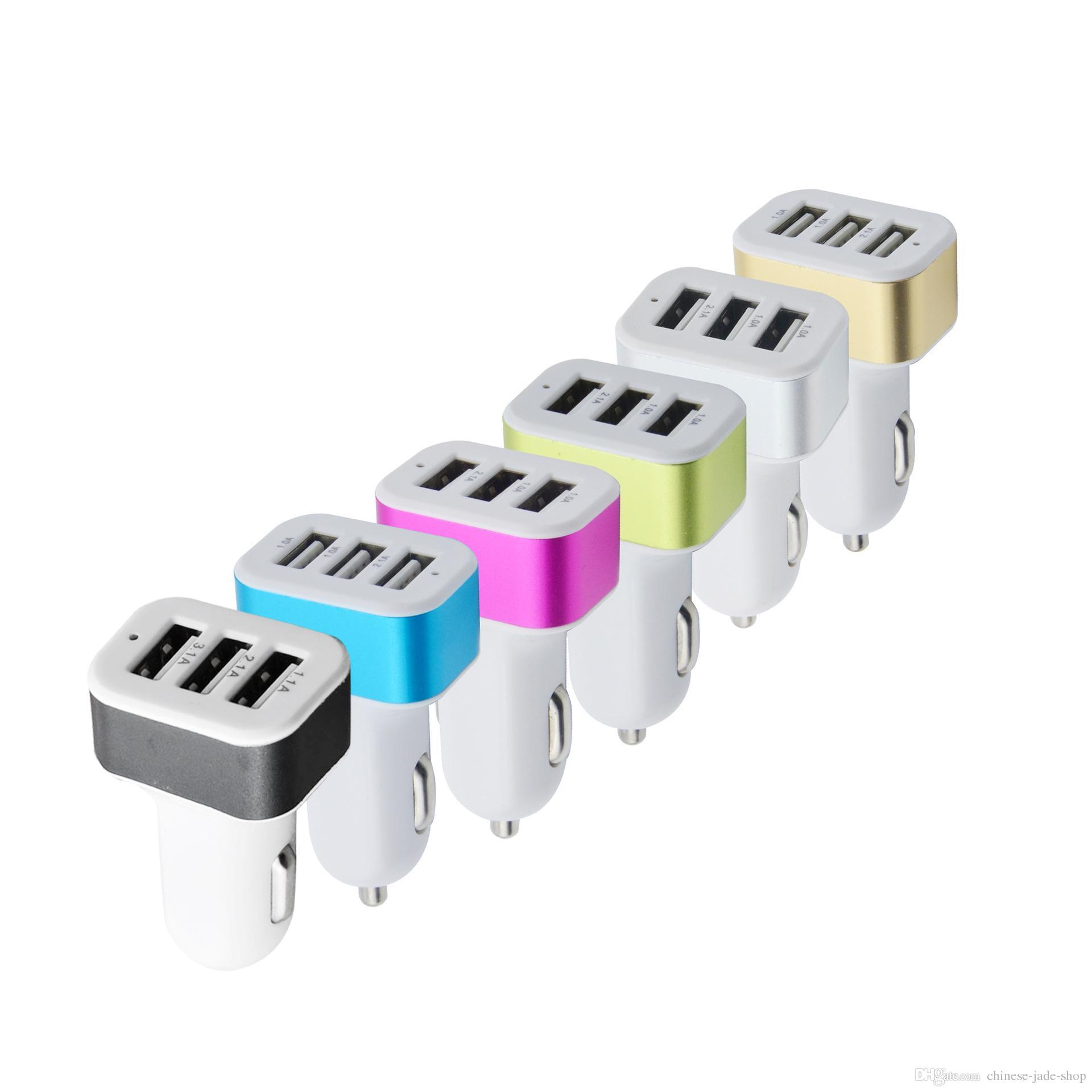 3 USB автомобильное зарядное устройство металлический сплав 5V 1A зарядный адаптер универсальный для смартфона 100 шт. / лот