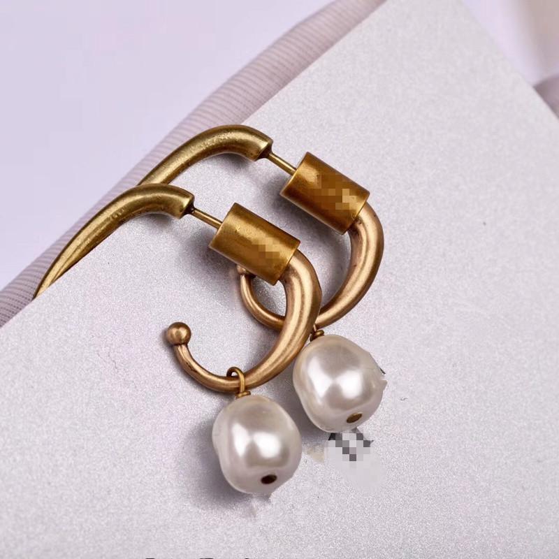 Dz Vintage Bronze Double Pearl Bee Stud Earring Women Wedding Irregular Pearl 925 Silver Ear Pin Letter Jewelry Y19050901