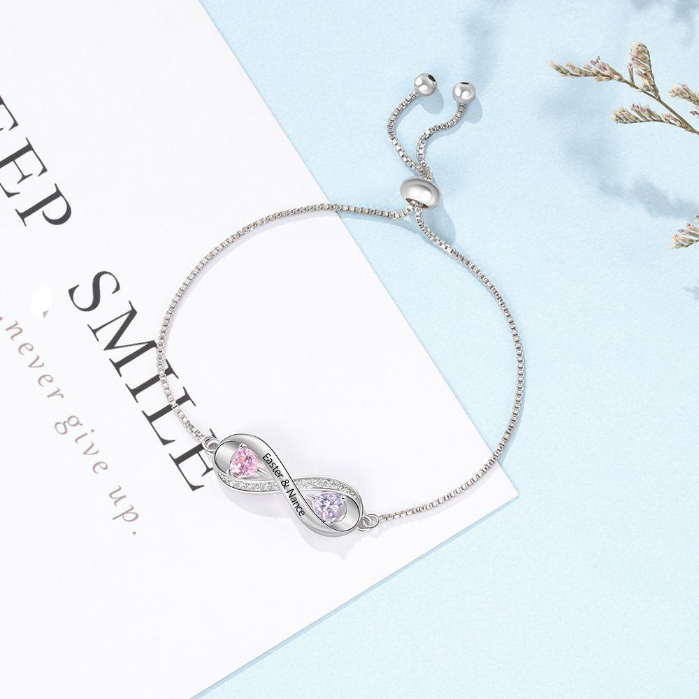 Nombre personalizado grabado pulsera Infinity con 2 Piedra de la fortuna personalizados pulseras de cadena ajustable para mujeres (JewelOra BA102579)