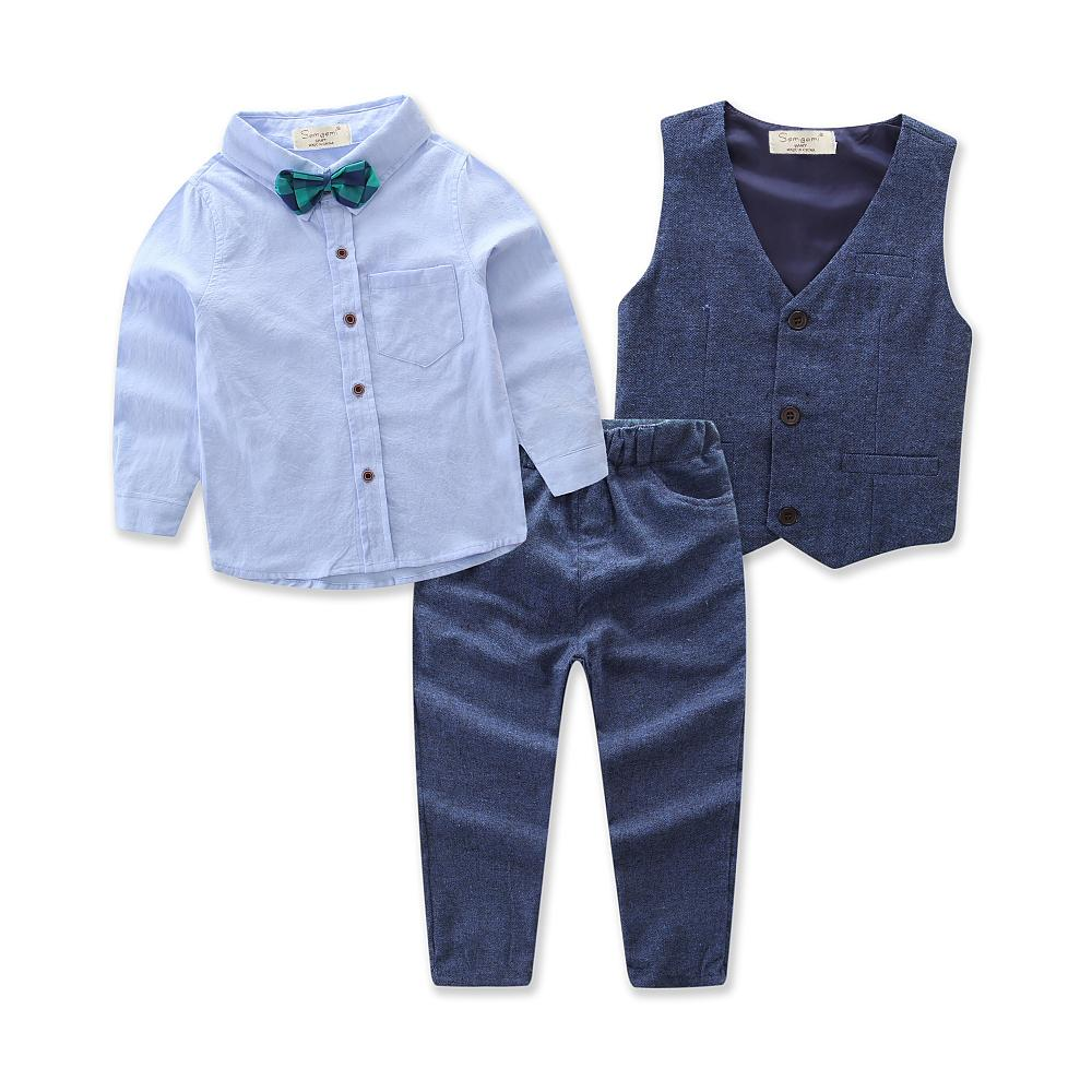Children Clothing Handsome Boy's 4pcs Suit Long-sleeve Shirts+vest+trousers+bow Tie For Boys Cloting Sets Gentleman Party Dress J190513