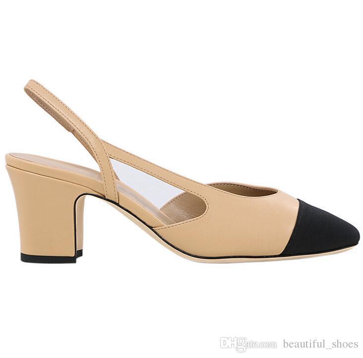 Senhoras marca de moda designer de sapatos casuais quadrado cabeça cor combinando sapatos de salto grosso nobre vestido de jantar sandálias