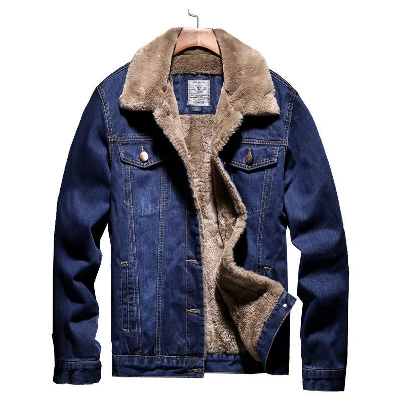 Men Light Blue Winter Jean Jackets Outerwear Warm Denim Coats New Men Large Size Wool Liner Thicker Winter Denim Jackets Size5XL