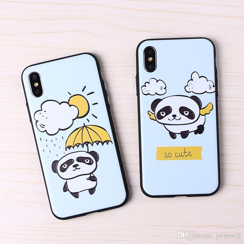 3D Emboss Cute Panda Crashproof Couple Back Cover Acrylic Cell Phone Cases Protective Covers For iPhone X XR XS MAX 6 6S 7 8 PLUS