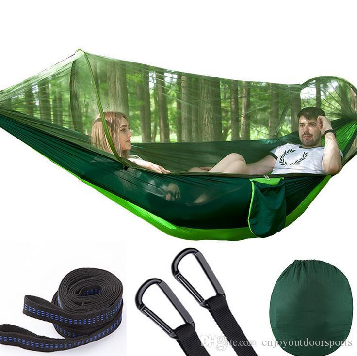 2 Person Multiuse Amaca da campeggio portatile Survivor Ultralight Hammocks Letti con zanzariera Stuff Sack Swing Sleeping Bed Tenda Tenda da albero