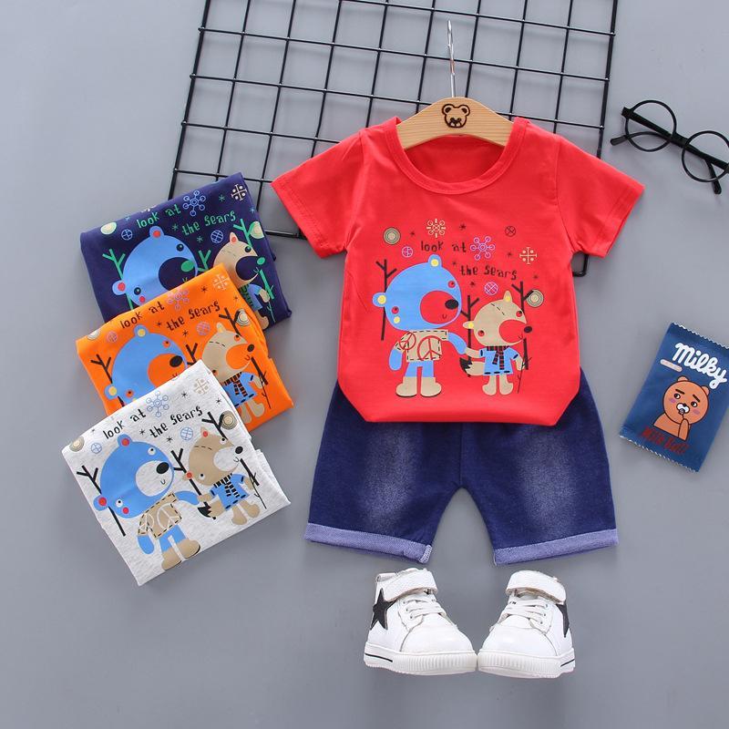 2020 bebés arropa juegos impresos historieta de la muchacha del verano de manga corta camisas Tops Pantalones cortos de juego de la ropa de niños de los niños