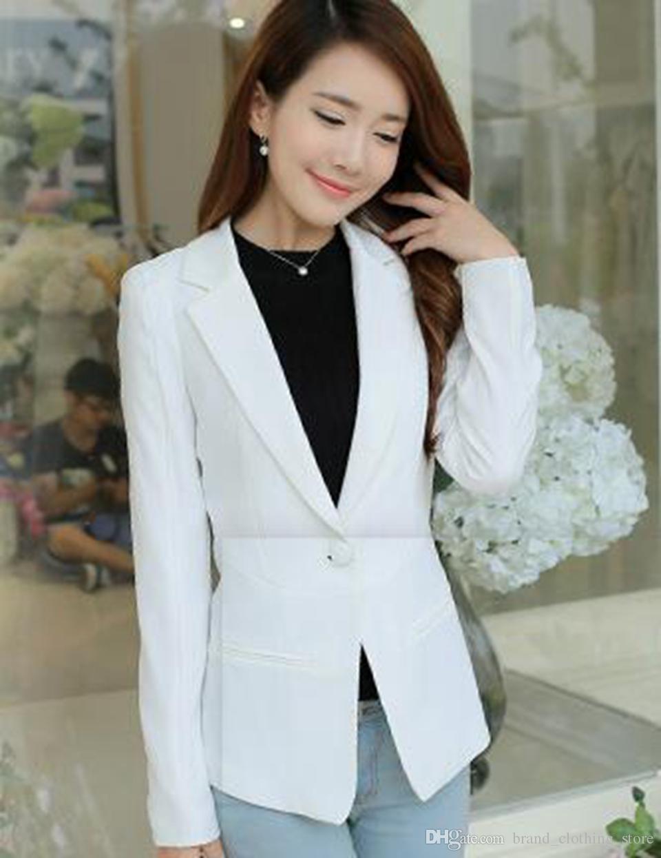 Die Frau Frühling und Herbst hochwertige Waren Han-Version neue Fonds Flut individuellen Charakter schlank Volltonfarbe Langhülse Anzug Mantel / S-2XL