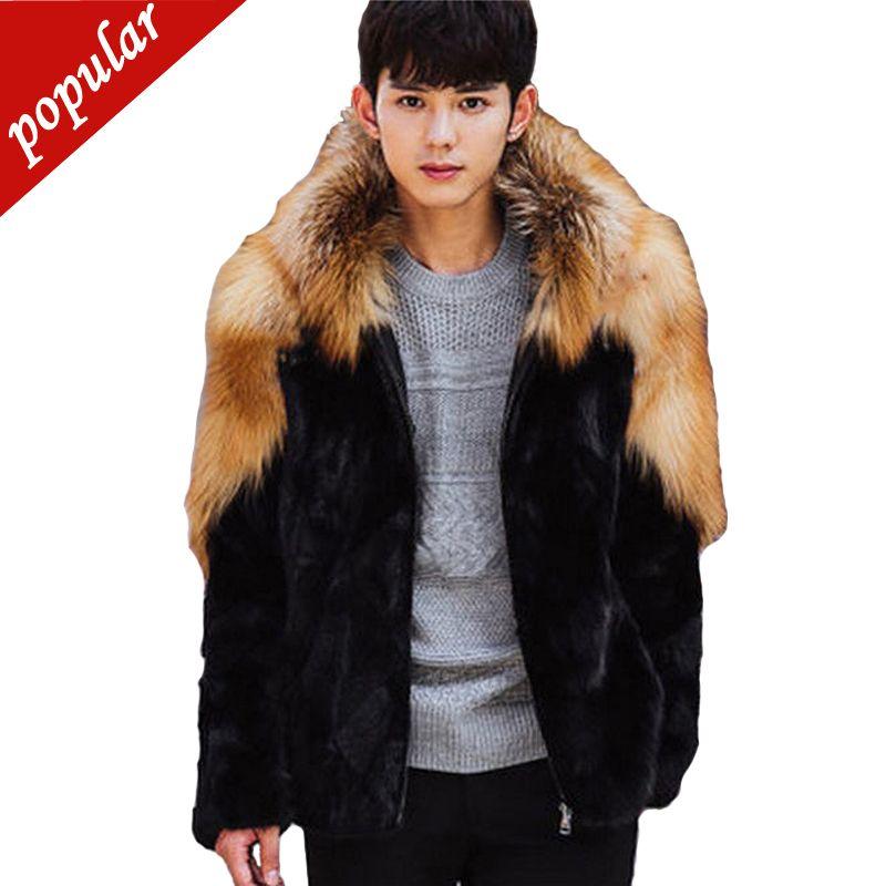 Новые зимние мужчины с капюшоном пэчворк из искусственного меха норки пальто мужские искусственный мех лисы куртки верхняя одежда плюс размер 3xl 4xl W1073