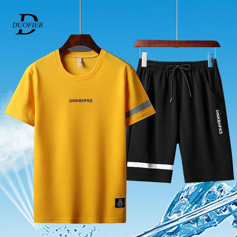 Yaz Erkek Spor Eşofmanlar tişörtleri Şort Polyester fashioin Tracksuits tişört Bermuda Masculina Kurulu Şort basılmıştır ayarlar