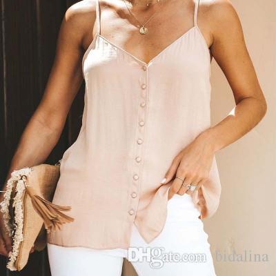 2017 Sexy Cetim v pescoço regata camisole topless das mulheres botão top colheita Nova moda senhora sem mangas preto / branco camis tops blusa