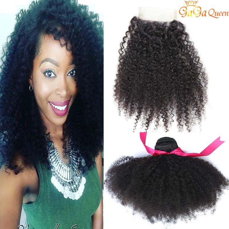 Brésilien Afro Kinky Cheveux bouclés avec fermeture 3 Bundles Extensions de cheveux humains brésiliens Afro Kinky Curly avec fermeture de dentelle 4x4