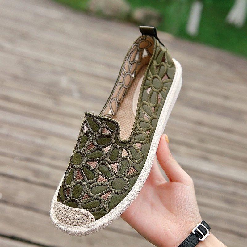 Mujeres de la marca de paja bajo la parte superior de la PU de los zapatos de cuero de lino tejidas pescador Moda bordados Alpargatas de piel de cordero de los holgazanes plana solo zapato, 35-40