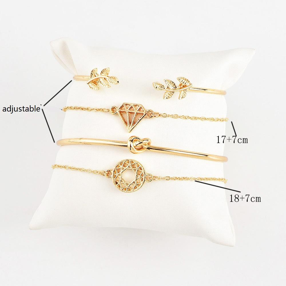 Open Bracelets Sets Leaf Triangle Diamond Knot Charm Bracelet Love Bangle Bohemian for Women Retro Wedding Jewelry Gift 4PCS 1Set Cheap