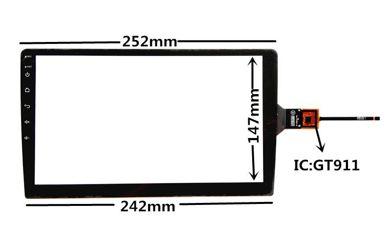 10.1 inch GT911 Capacitive Touch Digitizer for Android Car DVD GPS navigation multimedia Touch screen panel Glass
