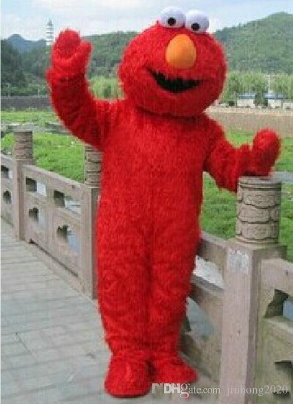 sıcak satış Kırmızı Elmo Maskot Kostüm Cadılar Bayramı Kostüm Chirstmas Parti Yetişkin Boyut Fantezi Elbise ems Ücretsiz Kargo