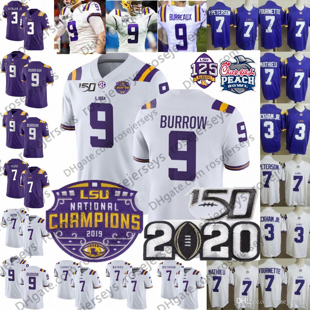 2020 LSU Tigers BURREAUX Champions Jersey 9 Joe Burrow 150e 3 Odell Beckham Jr. 7 Tyrann Mathieu Grant Delpit Ja'Marr JaMarr Chase Pseudo