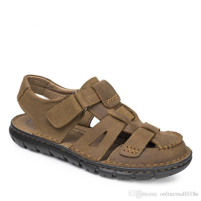 Gladiador para hombre sandalia de cuero genuino verano hombres sandalias nueva moda transpirable zapatos masculinos de playa