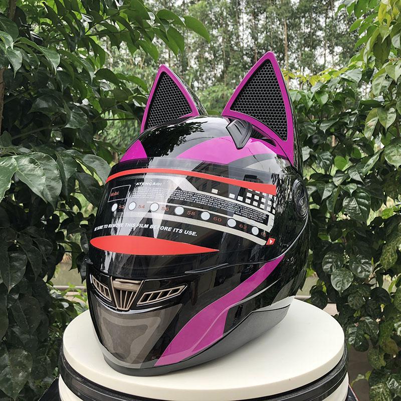 personalidade cor roxa capacete da motocicleta adultos off-road orelhas de gato capacete capacete motocross casco ECE aprovado