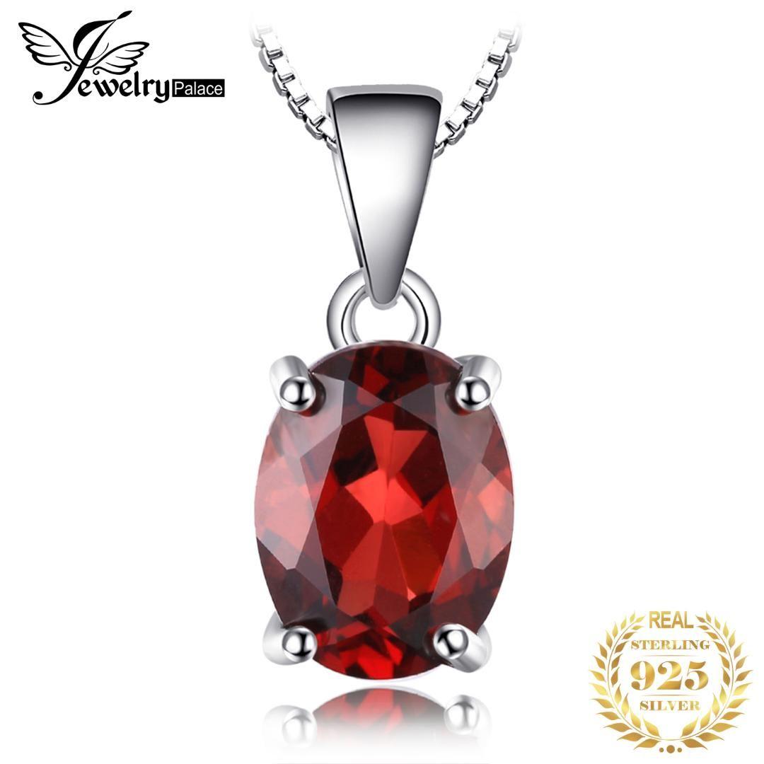 JewelryPalac Oval bir Zinciri olmadan Doğal Kırmızı Garnet Birthstone Solitaire kolye 925 Gümüş Kadınlar Güzel Takı 2.5ct