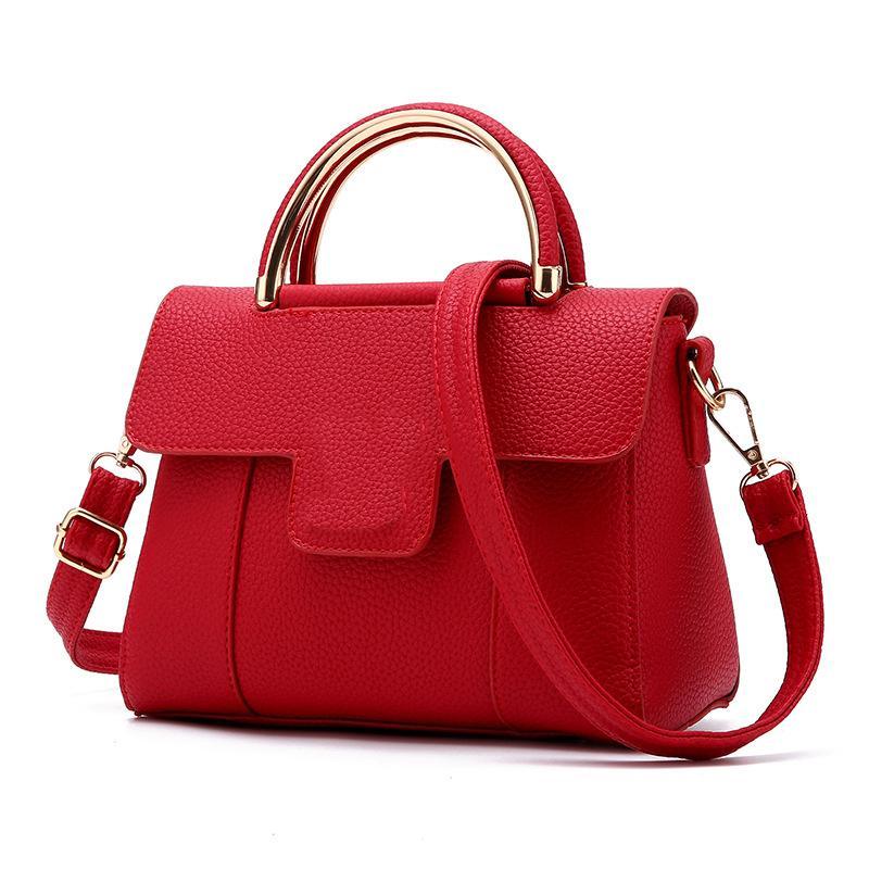 Женские кожаные сумки Маленькая сумка в стиле леди Сумка на плечо Дизайнерская повседневная сплошная сумка через плечо Сумка Messenger