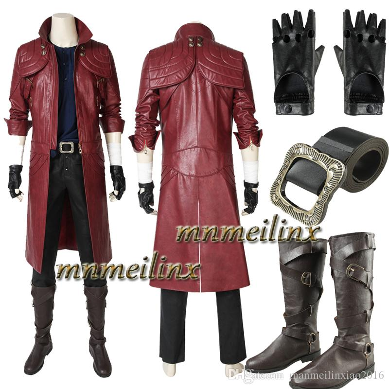 Hot Game Dmc Cosplay Devil May Cry 5 Dante Cosplay Costume And Boots Halloween Deluxe Outfit Full Set Unisex Custom Made Canada 2019 From