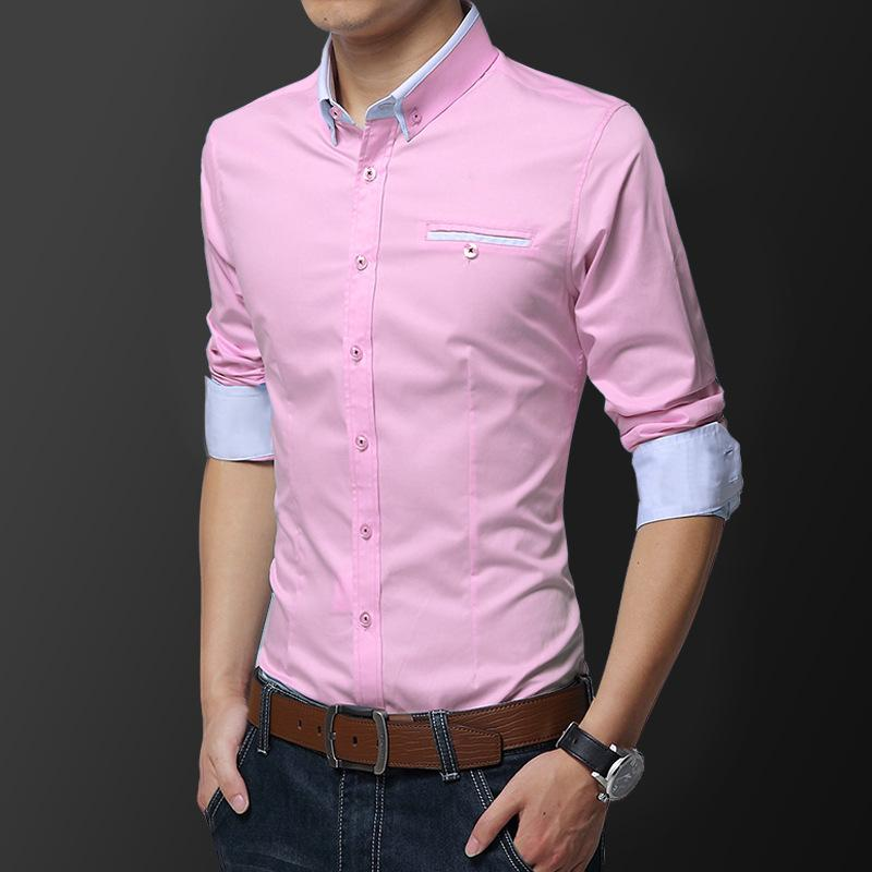 New Men's Long Sleeve Shirt Free Ironing Gentleman Thin Slim Slim Fit Fashion Shirt