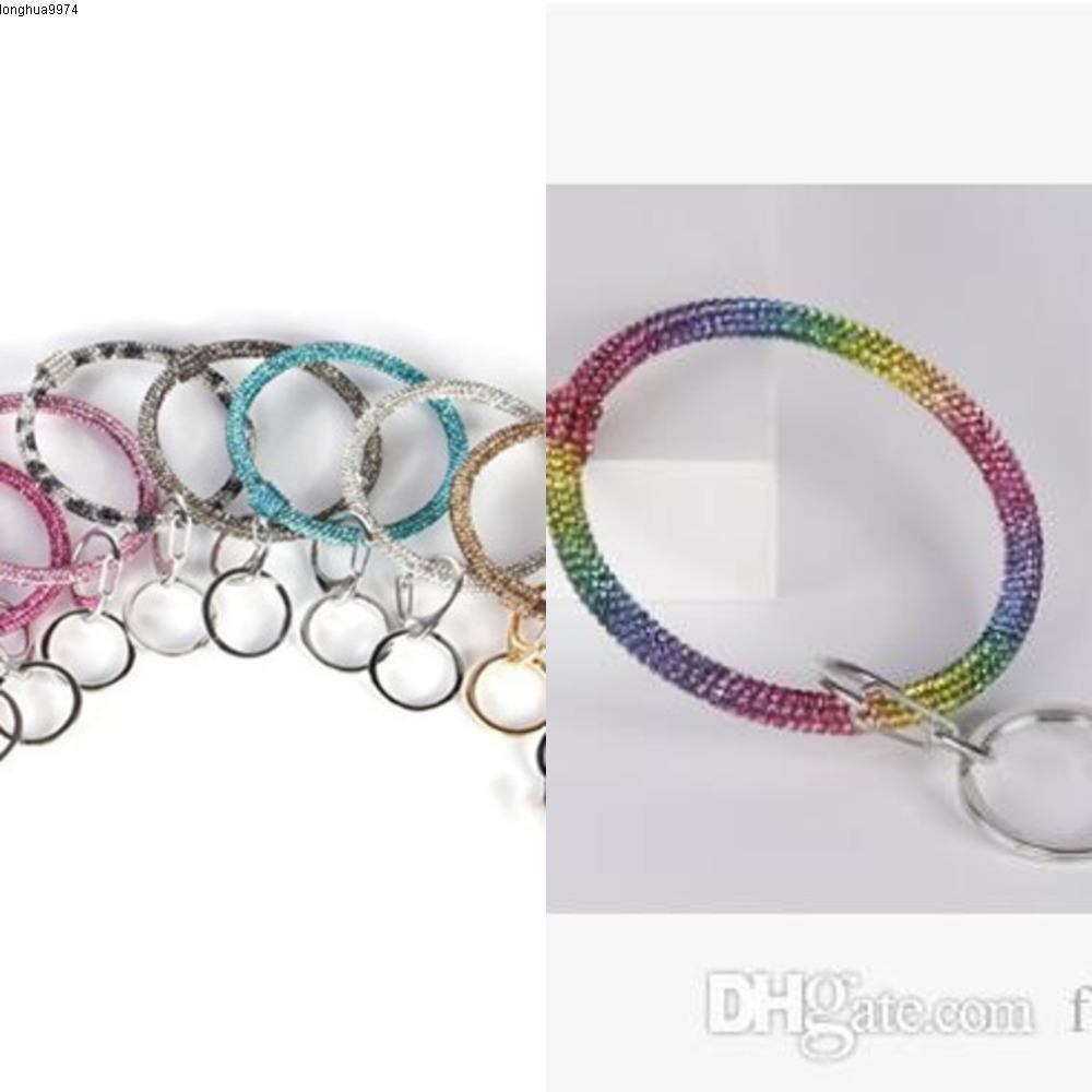 Wrist Key Ring Women Bangle Silicone Circle Car Key Chain Glitter Crystal Rhinestone Silicone Bracelet Keychain ewelry Party Favor LXL819Q